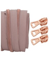 coil zipper dusty pink - rose gold 100cm including 3 sliders
