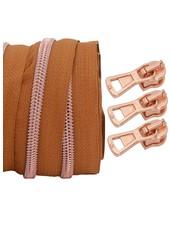 spiraalrits licht cognac - rosé goud 100 cm inclusief 3 schuivers