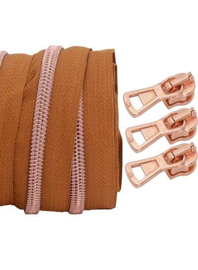coil zipper light cognac - rose gold 100cm including 3 sliders