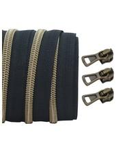 coil zipper black - matt anti-brass 100cm including 3 sliders