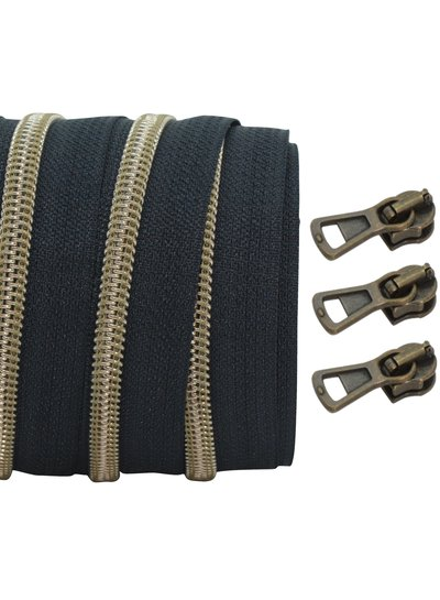 coil zipper black - matt anti-brass 100cm including 3 sliders