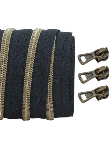 spiraalrits zwart - mat brons 100 cm inclusief 3 schuivers