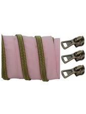 coil zipper dusty pink - matt anti-brass 100cm including 3 sliders