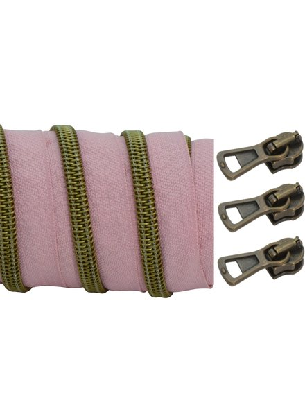 coil zipper dusty pink - matt anti-brass 100cm including 3 sliders