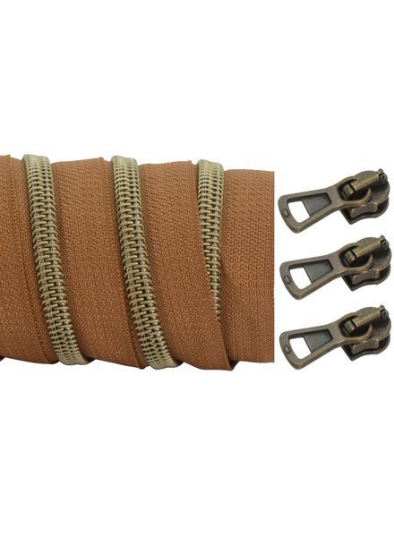 coil zipper dark cognac - matt anti-brass 100cm including 3 sliders