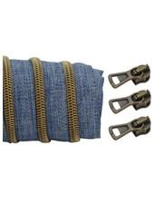 spiraalrits denim - mat brons 100 cm inclusief 3 schuivers
