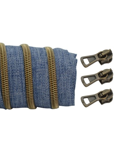 coil zipper denim - matt anti-brass 100cm including 3 sliders