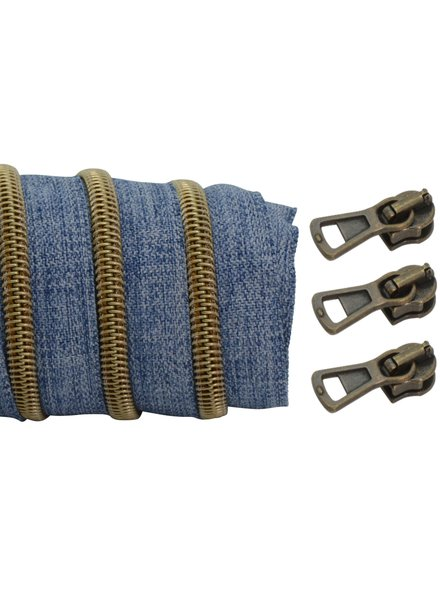 coil zipper denim - matt anti-brass 100cm including 3 sliders