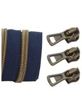spiraalrits donkerblauw - mat brons 100 cm inclusief 3 schuivers