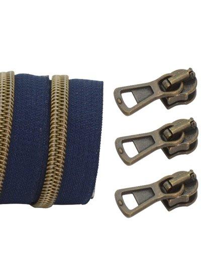 coil zipper dark blue - matt anti-brass 100cm including 3 sliders