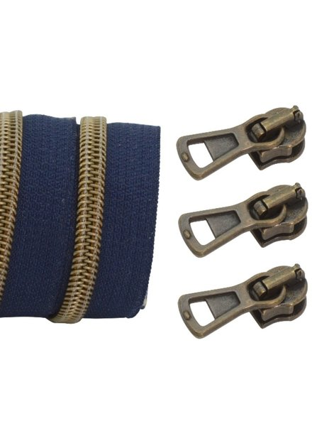 coil zipper dark blue - matt anti-brass 100cm including 3 sliders