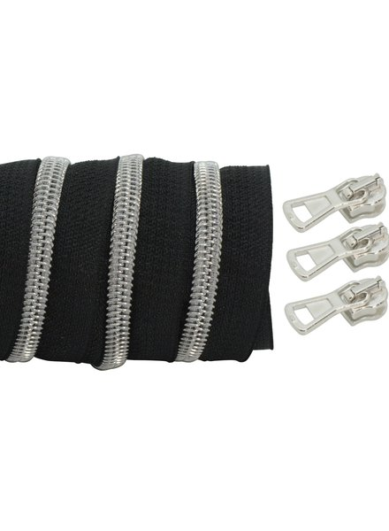 coil zipper black - matt silver 100cm including 3 sliders