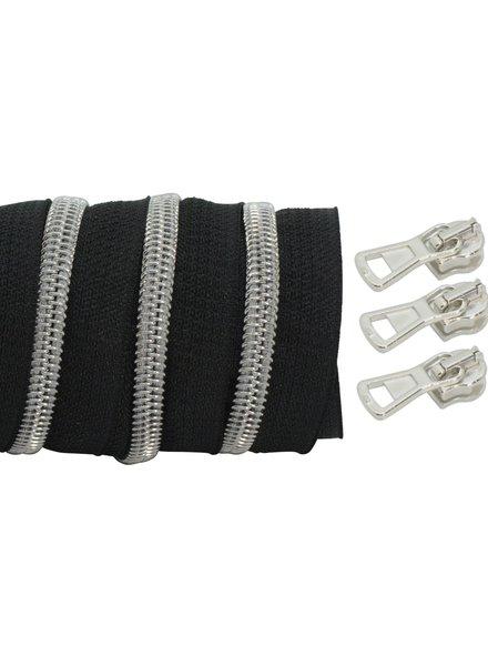 spiraalrits zwart - mat zilver 100 cm inclusief 3 schuivers