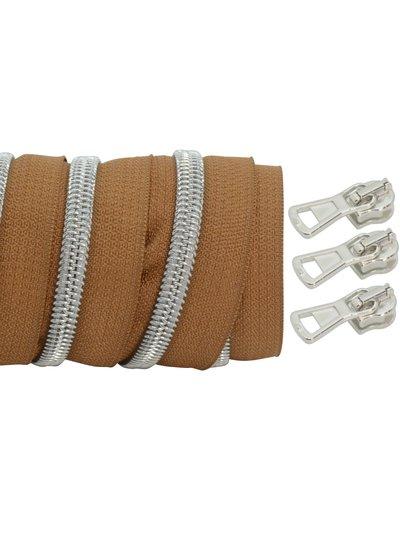 coil zipper dark cognac - matt silver 100cm including 3 sliders