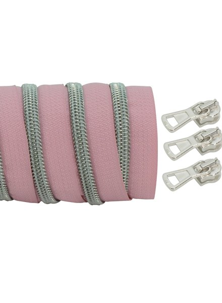coil zipper light rose - matt silver 100cm including 3 sliders