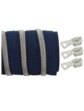 coil zipper dark blue - matt silver 100cm including 3 sliders