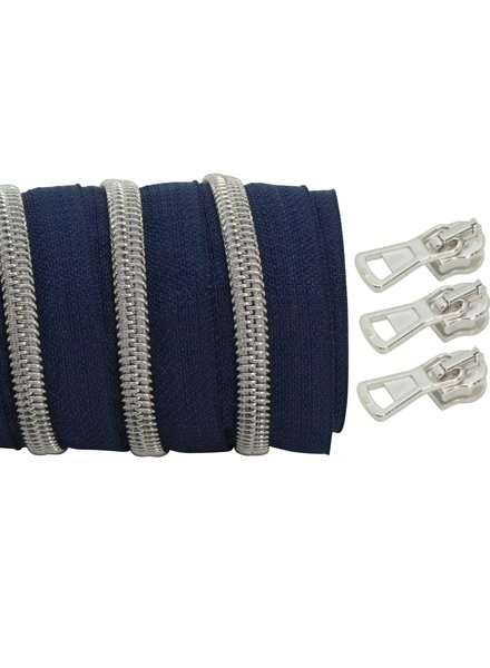 coil zipper dark blue - matt silver 100cm including 3 sliders