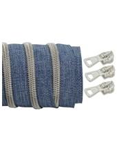 coil zipper denim - matt silver 100cm including 3 sliders