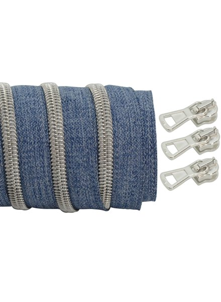 coil zipper denim - matt silver 100cm including 3 sliders
