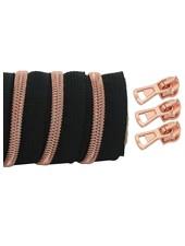 spiraalrits zwart - rosé goud 100 cm inclusief 3 schuivers
