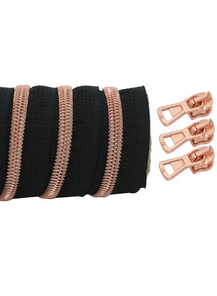 coil zipper black - rose gold 100cm including 3 sliders