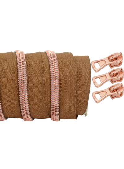 coil zipper dark cognac - rose gold 100cm including 3 sliders