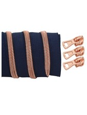 coil zipper dark blue - rose gold 100cm including 3 sliders