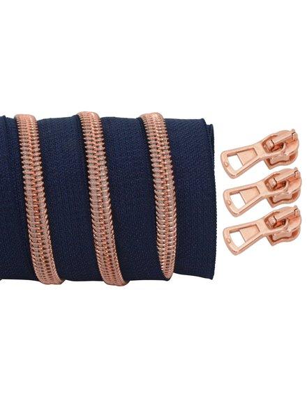 spiraalrits donkerblauw - rosé goud 100 cm inclusief 3 schuivers