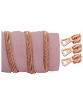 spiraalrits lichtroze - rosé goud 100 cm inclusief 3 schuivers