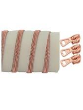 coil zipper ivory - rose gold 100cm including 3 sliders