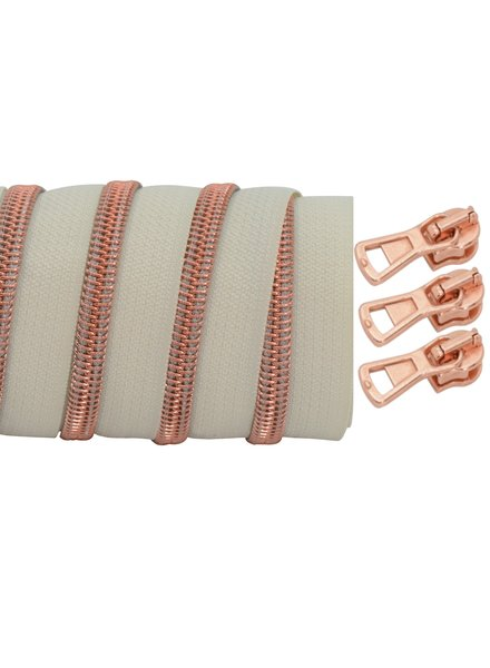 coil zipper ivory - rose gold 100cm including 3 sliders