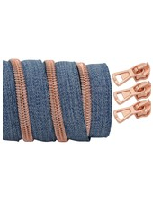 coil zipper denim - rose gold 100cm including 3 sliders