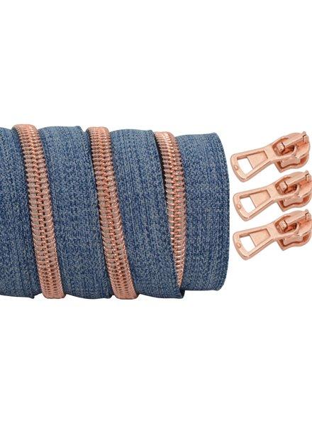 spiraalrits denim - rosé goud 100 cm inclusief 3 schuivers