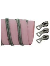 coil zipper light rose - black nickel 100cm including 3 sliders