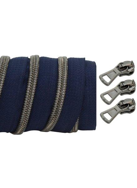 spiraalrits donkerblauw - zwart nikkel 100 cm inclusief 3 schuivers