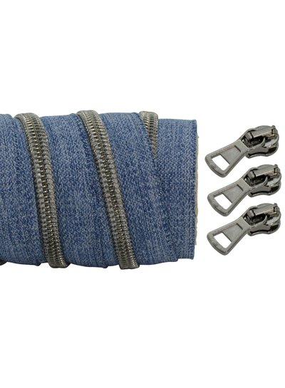spiraalrits denim - zwart nikkel 100 cm inclusief 3 schuivers