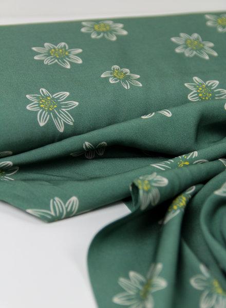 green big flowers - viscose