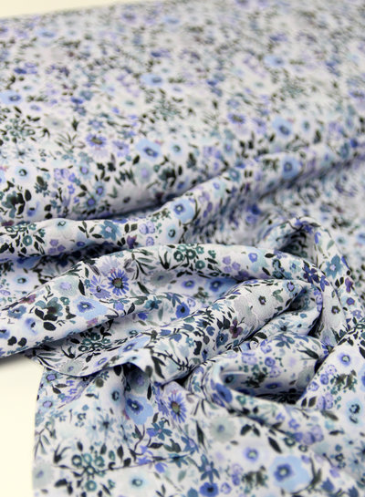 light blue little flowers - viscose