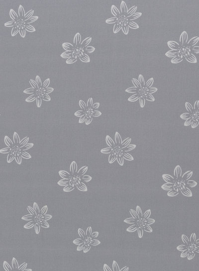 grey big flowers - viscose