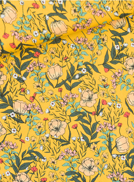 See You at Six Summer Flowers - Lycra - yolk yellow