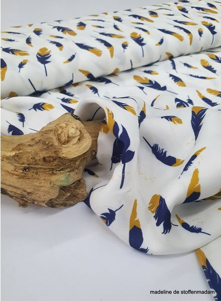 feather ocre and blue - soft viscose - oeko tex
