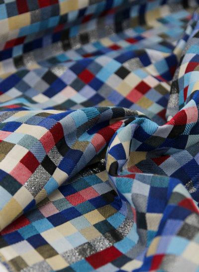 squares blue - 12oz - gobelin deco stof