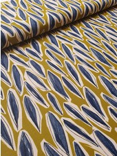 artistic leaves  ochre - deco fabric