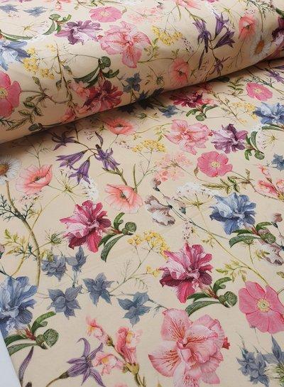 lentebloemen - velvet deco stof