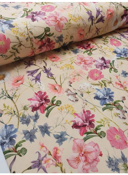 spring flowers - velvet deco fabric