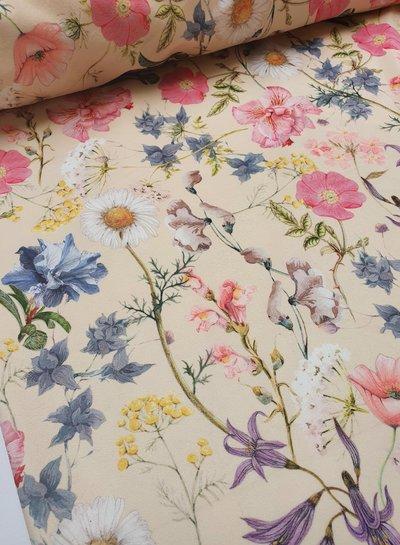 spring flowers - velvet deco fabric