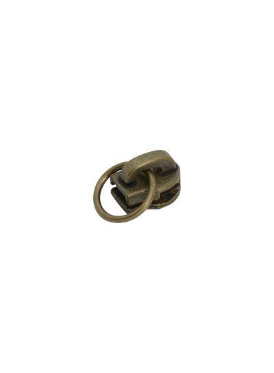 schuiver voor spiraalrits - met ring - brons