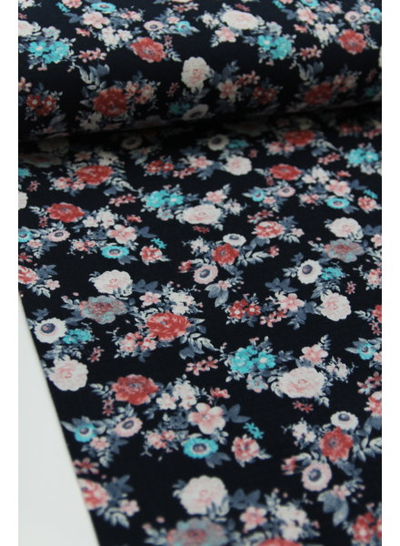 bloemen donkerblauw tetra / double gauze