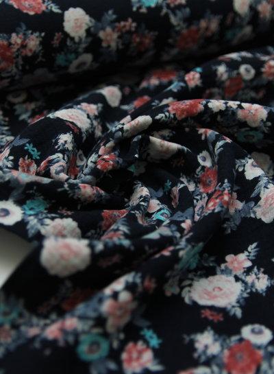 flowers dark blue - tetra / double gauze