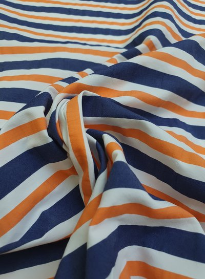 orange stripes - wrinkle cotton